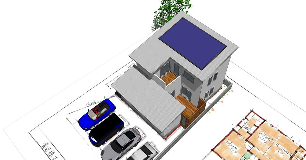 片流れ大屋根と太陽光発電のあるいえ